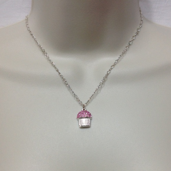 Other - Silver necklace w/ cupcake charm